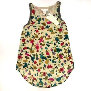 MM Couture by Miss Me floral beaded hi low tank XS